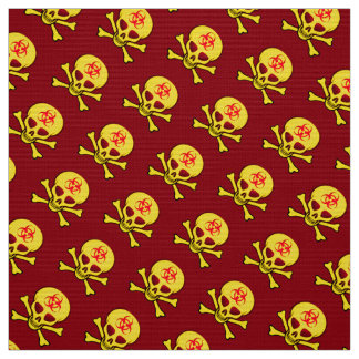 Yellow Biohazard Skull and Crossbones Fabric