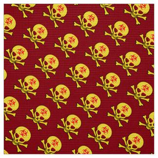 Yellow Biohazard Skull and Crossbones Fabric