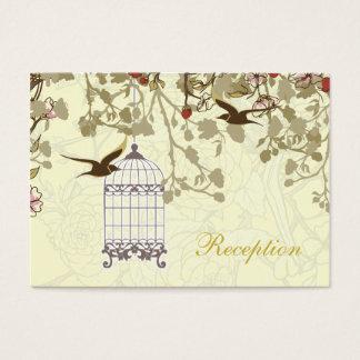 yellow bird cage, birds wedding reception cards