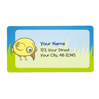 Yellow bird cartoon shipping label