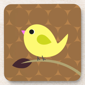 Yellow Bird on Branch Drink Coasters