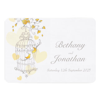 Yellow birds open cage custom wedding invitation