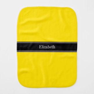 Yellow, Black Ribbon Name Monogram Burp Cloth