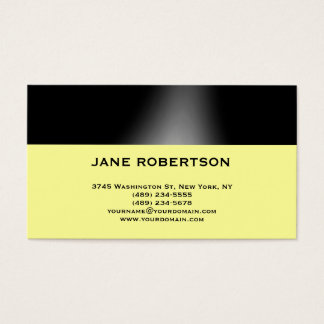 Yellow Black Simple Plain Business Card