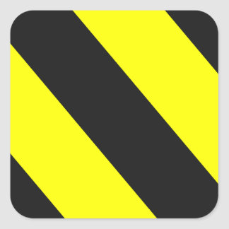 Yellow Black Warning Stripes Square Sticker