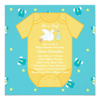 Yellow Blue Baby Boy Shower Invitations
