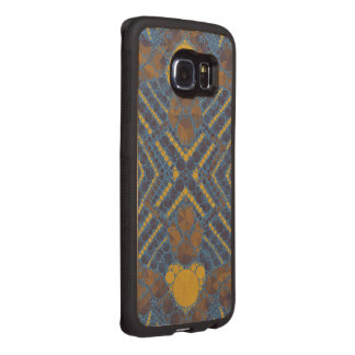 Yellow Blue Bling Abstract Wood Phone Case