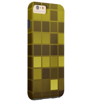 Yellow Brown Checkers Tough iPhone 6 Plus Case