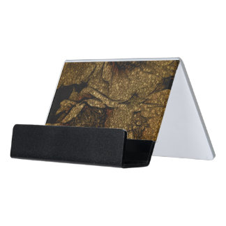 Yellow Brown Flowers Desk Business Card Holder