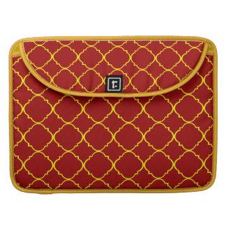 Yellow & Burnt Red Quatrefoil Sleeve For MacBooks