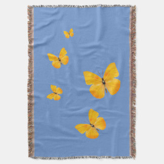 Yellow Butterflies Throw Blanket