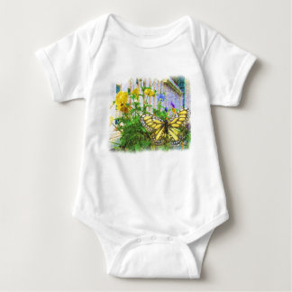Yellow Butterfly and Viola Flowers Baby Bodysuit