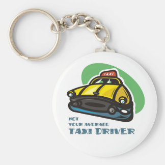 Yellow cab cartoon: Not your average taxi driver Basic Round Button Key Ring