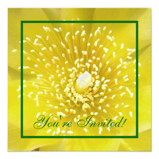Yellow Cactus Flower 5.25x5.25 Square Paper Invitation Card
