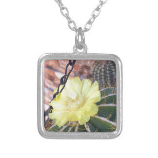 Yellow cactus flower silver plated necklace