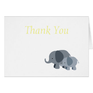 Yellow Chevron Elephant Baby Shower Envelope Note Card
