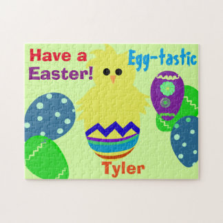 Yellow Chick Easter Eggs Personalized NAME Jigsaw Puzzle