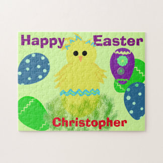 Yellow Chick Eggs Easter Personalized NAME Jigsaw Puzzle
