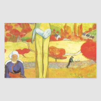 Yellow Christ by Paul Gauguin Rectangular Sticker