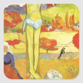 Yellow Christ by Paul Gauguin Square Sticker