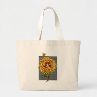 Yellow Chrysanthemum Girl Large Tote Bag