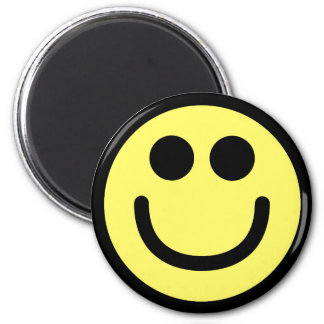 Yellow Classic Smiley Face 6 Cm Round Magnet