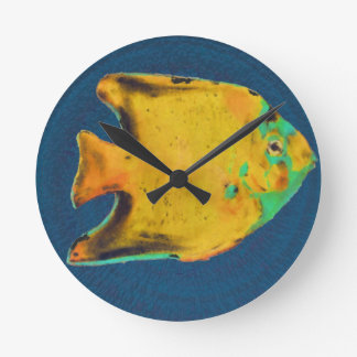 yellow color fish round clock