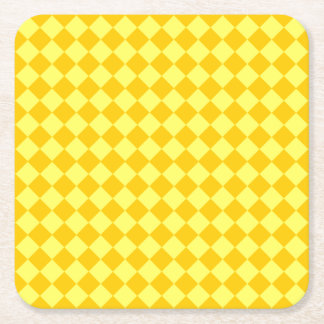 Yellow Combination Diamond Pattern Square Paper Coaster
