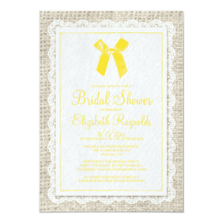 Yellow Country Burlap Bridal Shower Invitations