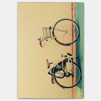 Yellow Cream Bike Basket Bicycle Two Wheel Post-it Notes