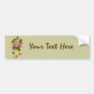 Yellow Cross With Pink Flower Bumper Sticker