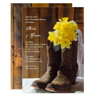 Yellow Daffodils Cowboy Boots Post Wedding Brunch 13 Cm X 18 Cm Invitation Card