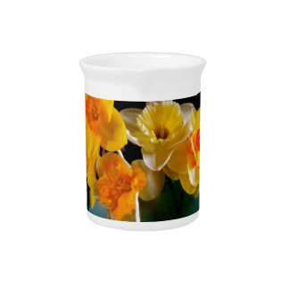Yellow Daffodils In Vase Design Drink Pitcher