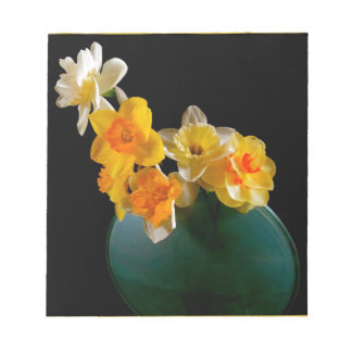 Yellow Daffodils In Vase Design Notepad