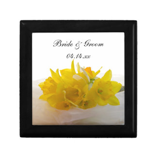Yellow Daffodils on White Spring Wedding Gift Box