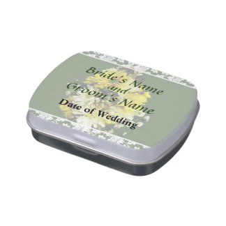Yellow Daisies and White Mums Wedding Products Candy Tin