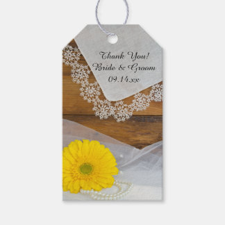 Yellow Daisy and Lace Country Wedding Favor Tags