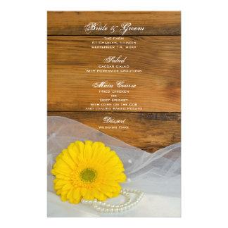 Yellow Daisy and Pearls Country Barn Wedding Menu
