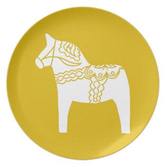 Yellow Dala Horse Plates