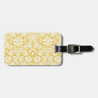 Yellow damask pattern tag for bags