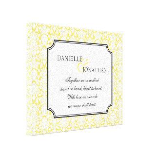 Yellow damask wedding personalized canvas art