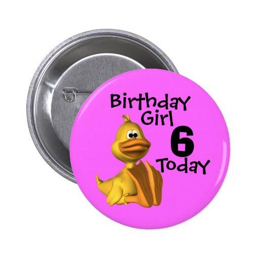 Yellow Duck Birthday  Girl 6 Pinback Buttons
