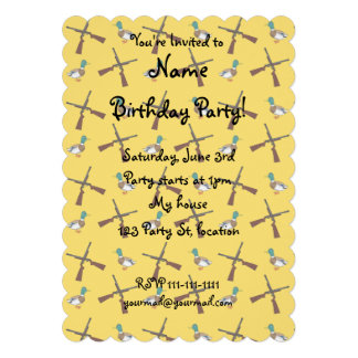 Yellow duck hunting pattern personalized invitation