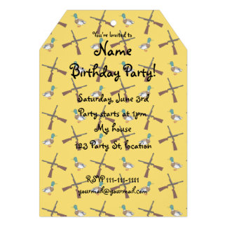 Yellow duck hunting pattern personalized invites
