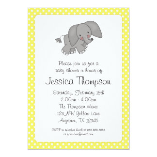 Yellow Elephant Polka Dots Baby Shower Card