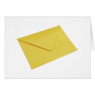 Yellow envelope isolated on white card