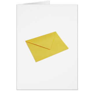 Yellow envelope isolated on white greeting card