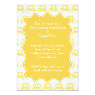 Yellow Fairytale Carriages Quinceanera 13 Cm X 18 Cm Invitation Card