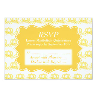 Yellow Fairytale Carriages Quinceanera Card