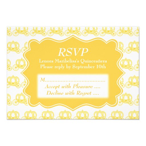 Yellow Fairytale Carriages Quinceanera Personalized Invite